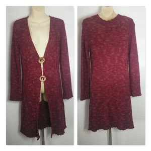 BCBGMaxazria Burgundy Long Sweater Cardigan Medium